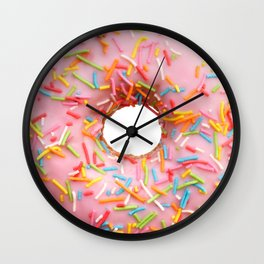 Single pink donut Wall Clock