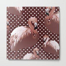 Watercolor Flamingo Pattern 10 Metal Print