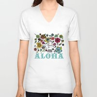 aloha V-neck T-shirts featuring Aloha by Isabel Aniel