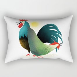 Morning Glory Rooster And Hen Wake Up Call Rectangular Pillow