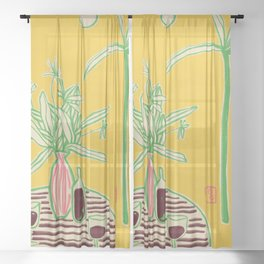 CONVERSATION BY THE SEA Sheer Curtain