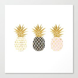 fun pineapple design gold Canvas Print