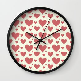 Vintage chic pastel red ivory romantic valentine's hearts Wall Clock