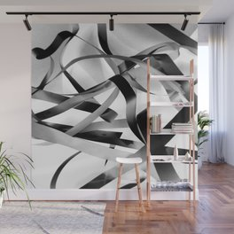 Black paper stripes Wall Mural