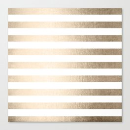 Simply Striped in White Gold Sands Canvas Print