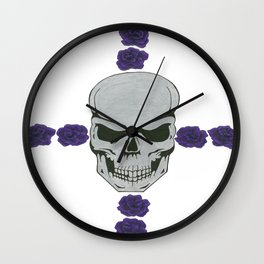 skull with purple rose cross Wall Clock