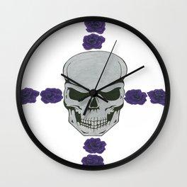 skull with purple rose cross Wall Clock
