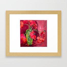 Red Poppies in Green Vase Framed Art Print