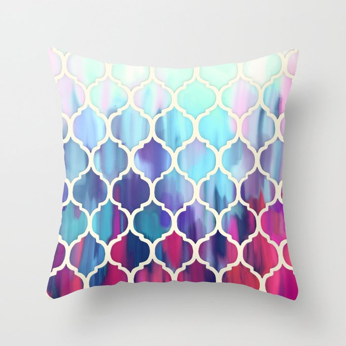 Moroccan Meltdown - pink, purple & aqua painted tiles Throw Pillow