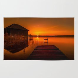 Boardwalk on the Lake at Sunset Rug