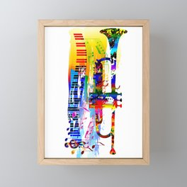 Abstract colorful music instrument painting.Trumpet, piano, musical notes, color splash, treble clef Framed Mini Art Print