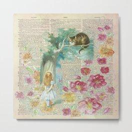 Vintage Floral Alice In Wonderland Metal Print