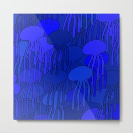 Jellyfish Blue Metal Print