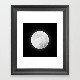 CHALK WHITE MOON Framed Art Print