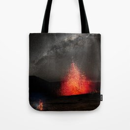 Kilauea Volcano Eruption Under The Stars. Tote Bag
