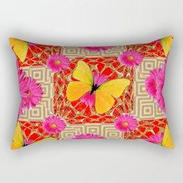 Red Art Design of Butterflies Fuchsia Gerbera Flower  Patterns Art Rectangular Pillow