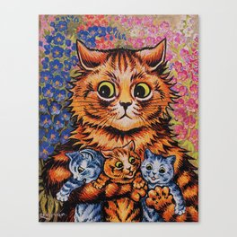 Cat and Her Kittens-Louis Wain Cats Canvas Print