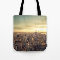 new york skyline Tote Bags featuring New York Skyline Cityscape by Vivienne Gucwa
