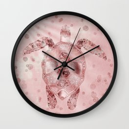 Glamour Turtle Rose Gold Wall Clock