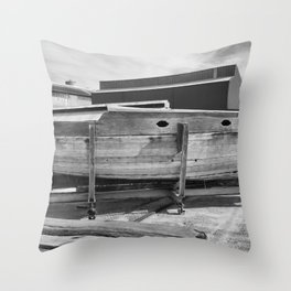 Old Wooden Boat Throw Pillow