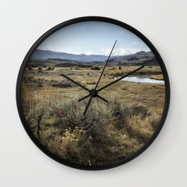 Waiting for Wolves in Lamar Valley - Yellowstone Wall Clock