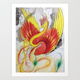 Red Phoenix (water color) Art Print