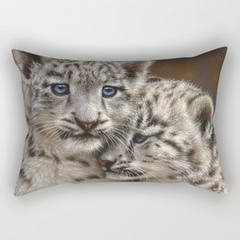 Snow Leopard Cubs - Playmates Rectangular Pillow