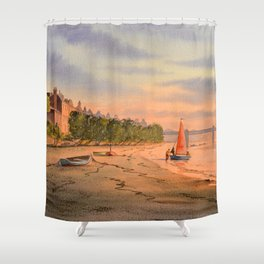 Strand-On-The-Green London Dinghy Sailing Shower Curtain