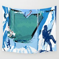 climbing Wall Tapestries featuring Ice Climbing by Robin Curtiss