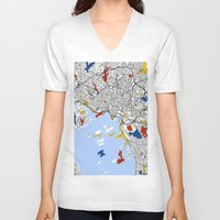 mondrian V-neck T-shirts featuring Oslo mondrian by Mondrian Maps