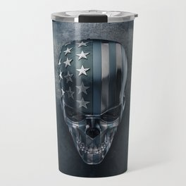 American Flag Skull Travel Mug