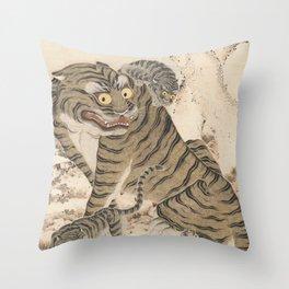 Tiger Family, Korean Art, 1800s Throw Pillow