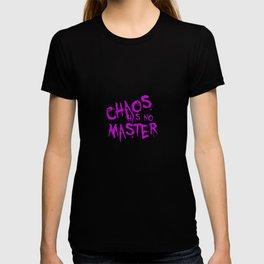 Chaos Has No Master Purple Graffiti Text T-shirt