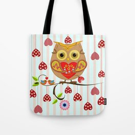 Valentine's day owl with hearts Tote Bag