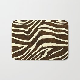 ZEBRA IN WINTER BROWN AND WHITE Bath Mat
