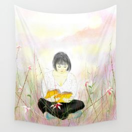The reading girl Wall Tapestry