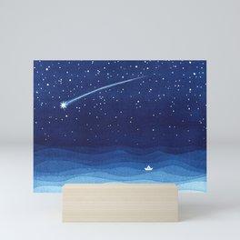 Falling star, shooting star, sailboat ocean waves blue sea Mini Art Print
