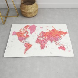 Hot pink watercolor world map with cities Rug