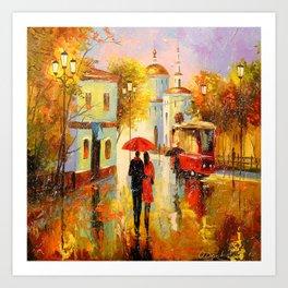 Rain in the city of love Art Print