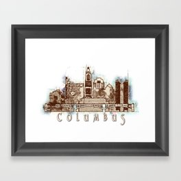 Columbus City, Ohio Skyline Graphic Framed Art Print