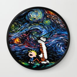 calvin hobbes stary night Wall Clock