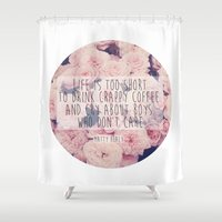 1975 Shower Curtains featuring Matt Healy Quote by Samantha