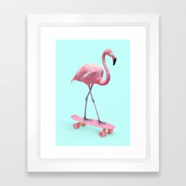 SKATE FLAMINGO Framed Art Print