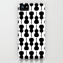Double Bass Pattern - black on white iPhone Case