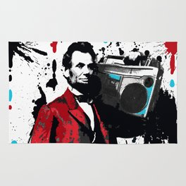 ABRAHAM LINCOLN INK SPLASH RED MAKE MUSIC NOT WAR Rug