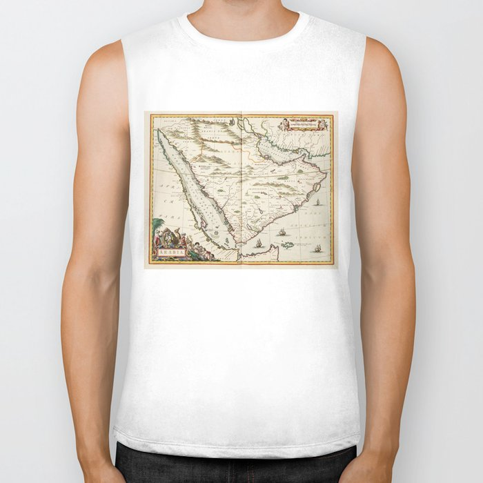 Vintage Map of Saudi Arabia (1662) Biker Tank