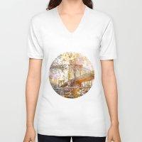 brooklyn bridge V-neck T-shirts featuring Brooklyn Bridge by LebensART