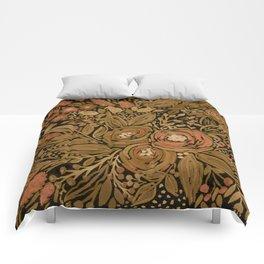 Watercolor .   Black brown floral pattern . Comforters