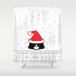 ugly xmas cat Shower Curtain