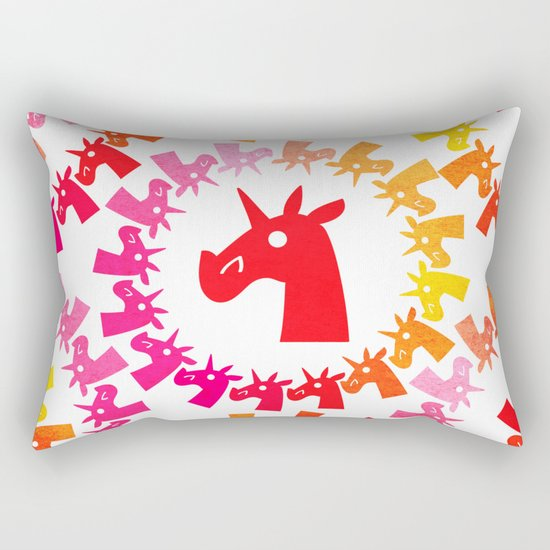 Color Me Red Unicorn Rectangular Pillow